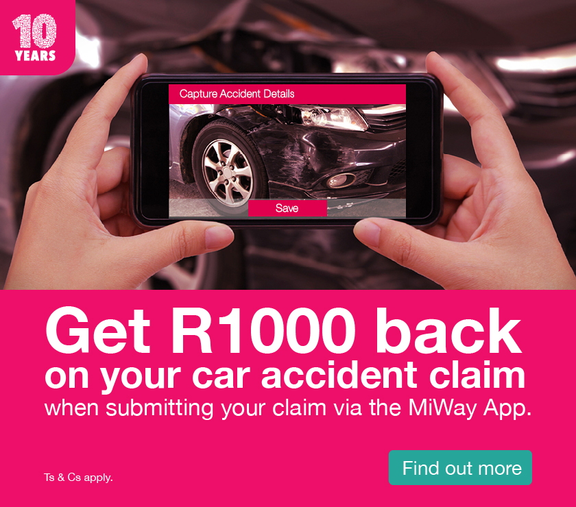 Get R1000 back when you submit your car accident claim via the MiWay App.